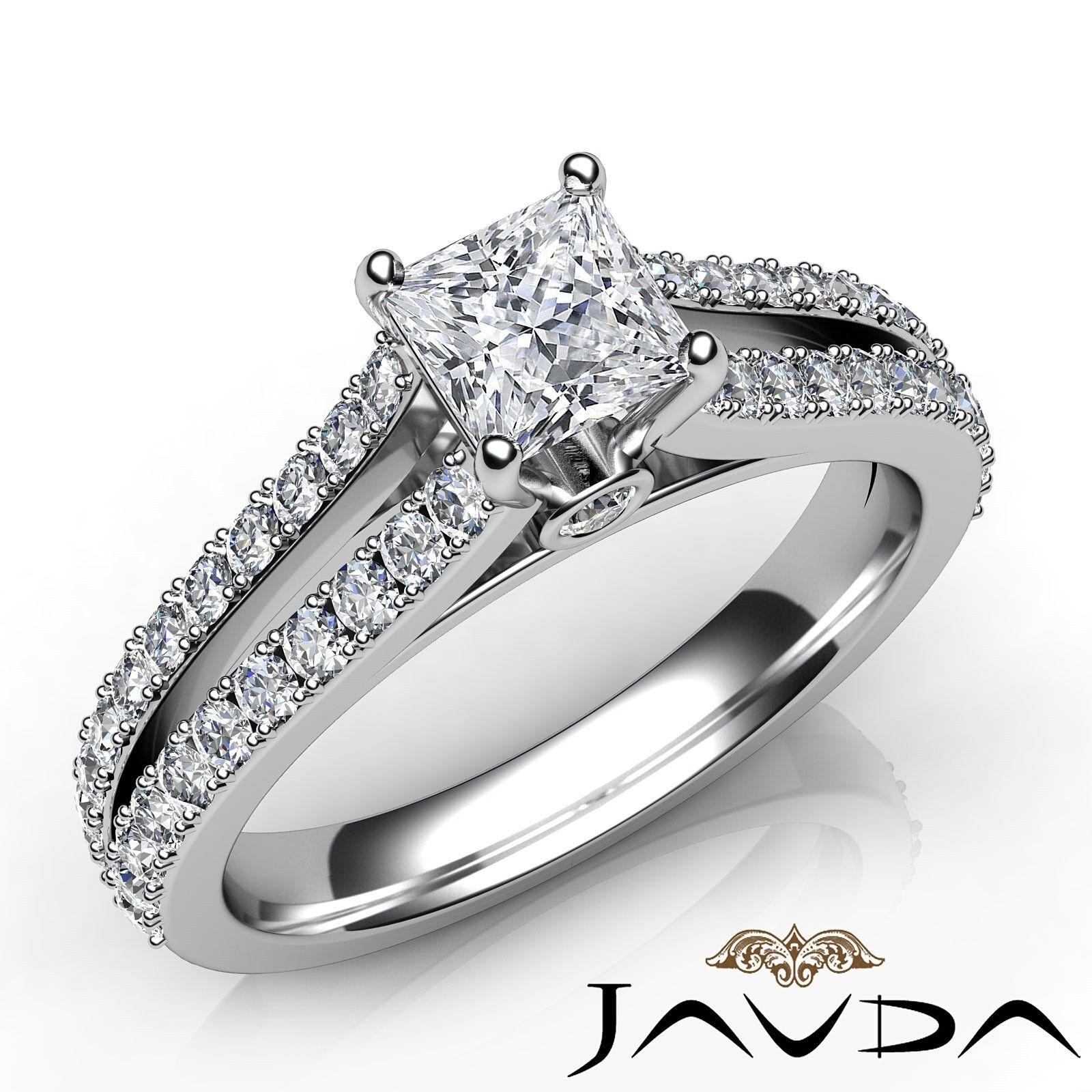 1.45ctw Natural 100% Princess Diamond Engagement Ring GIA I-SI2 White Gold Rings