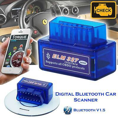 ELM327 Bluetooth V1.5 Wireless OBD2 Car Fault Diagnostic Code Readers Scanner UK