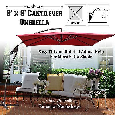 (New 8.2ft Banana Patio Umbrella Cantilever Tilt Square Hanging Parasol Sunshade)