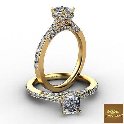 Circa Halo Pave Cushion Diamond Engagement Bridge Accent Ring GIA G VS2 1.02 Ct