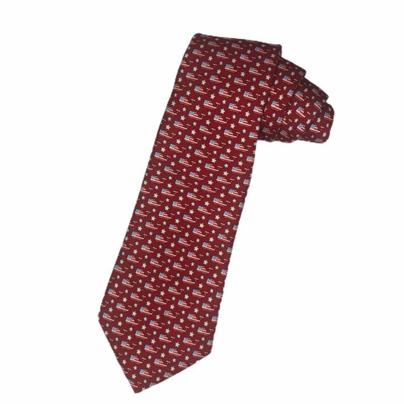 Vineyard Vines Boys Youth Red American Flag Whale Design 100% Silk Necktie Tie