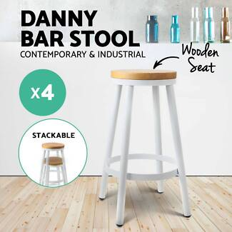 4x DANNY Industrial Bar Stool Stackable Barstool Dining Chair