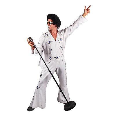 Elvis Costumes For Men (Men's Professional Rock N' Roll King Elvis Jeweled Jumpsuit Cape Costume)