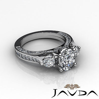 4 Prong Setting 3 Stone Oval Diamond Engagement Cathedral Ring GIA H SI1 2.3 Ct 2