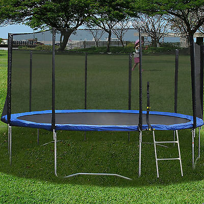 New 16FT Trampoline Combo Bounce Jump Safety Enclosure Net W/Spring Pad Ladder