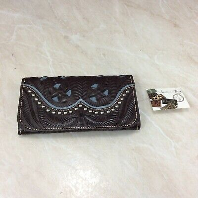 American West Wallet Tri Fold Ladies Annie's Secret Brown Turquoise New Leather
