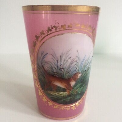 Glass Antique Cup Decor Painted Dog Hunting Opaline Pink Bra Pigeon XIX Th