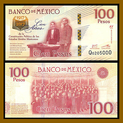 Mexico 100 Pesos, 2016-2017 P-130 Sig Type 4, 100 Year Comm. of Constitution Unc