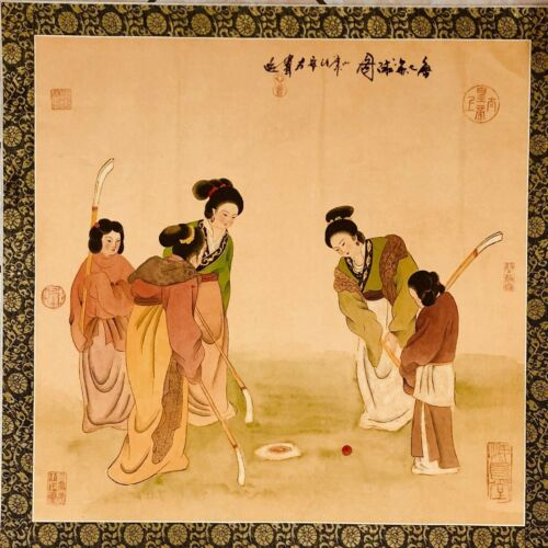 Chinese Water Color Hand Painted Art Women Playing Golf Chuiwan NOT PRINT VTG