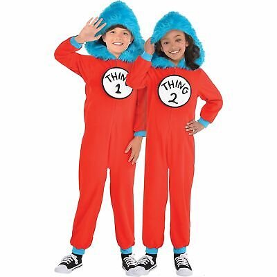 Dr. Seuss Thing 1 & Thing 2 One Piece Halloween Costume Kids, Medium, with Hood