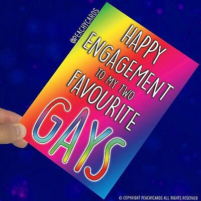 Divertido Compromiso Tarjetas Favourite Gay Lesbianas Bromas Boda Amigo PC550
