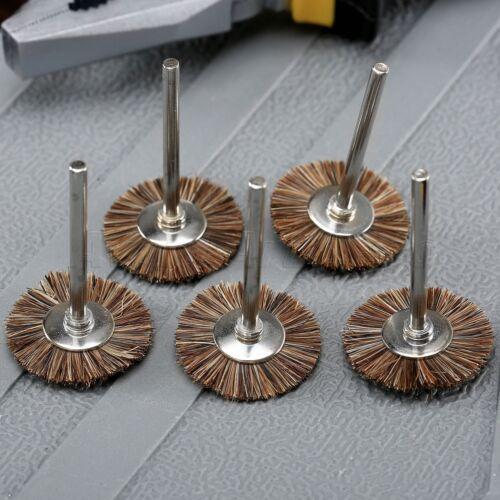 5pc 3mm Shank Flat Jewellery Polishing Wire Wheel Bursh For