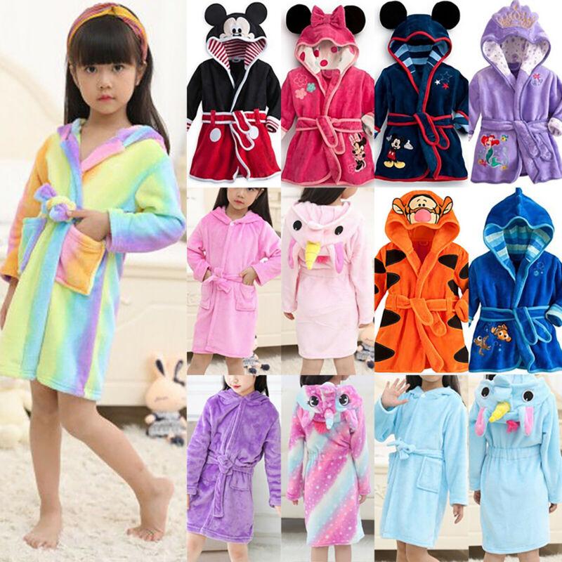 Baby Kinder Jungen Mädchen Bademantel Kapuze Bathrobe Nachtwäsche Pajamas Sets