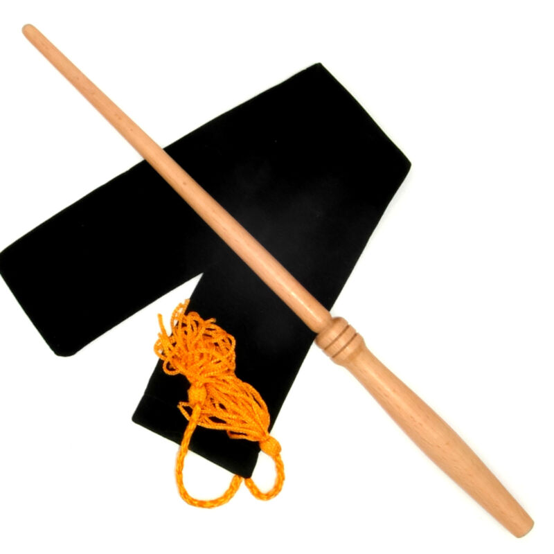 """15"""" Classic Hand Turned Beech Wood Magic Wand Witch Wizard Wicca w/ Velvet Bag"""