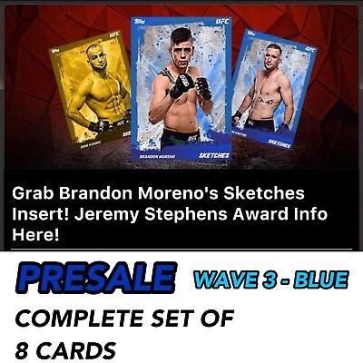 2018 SKETCHES WAVE 3 BLUE PRESALE COMPLETE SET 8 UFC Knockout Digital