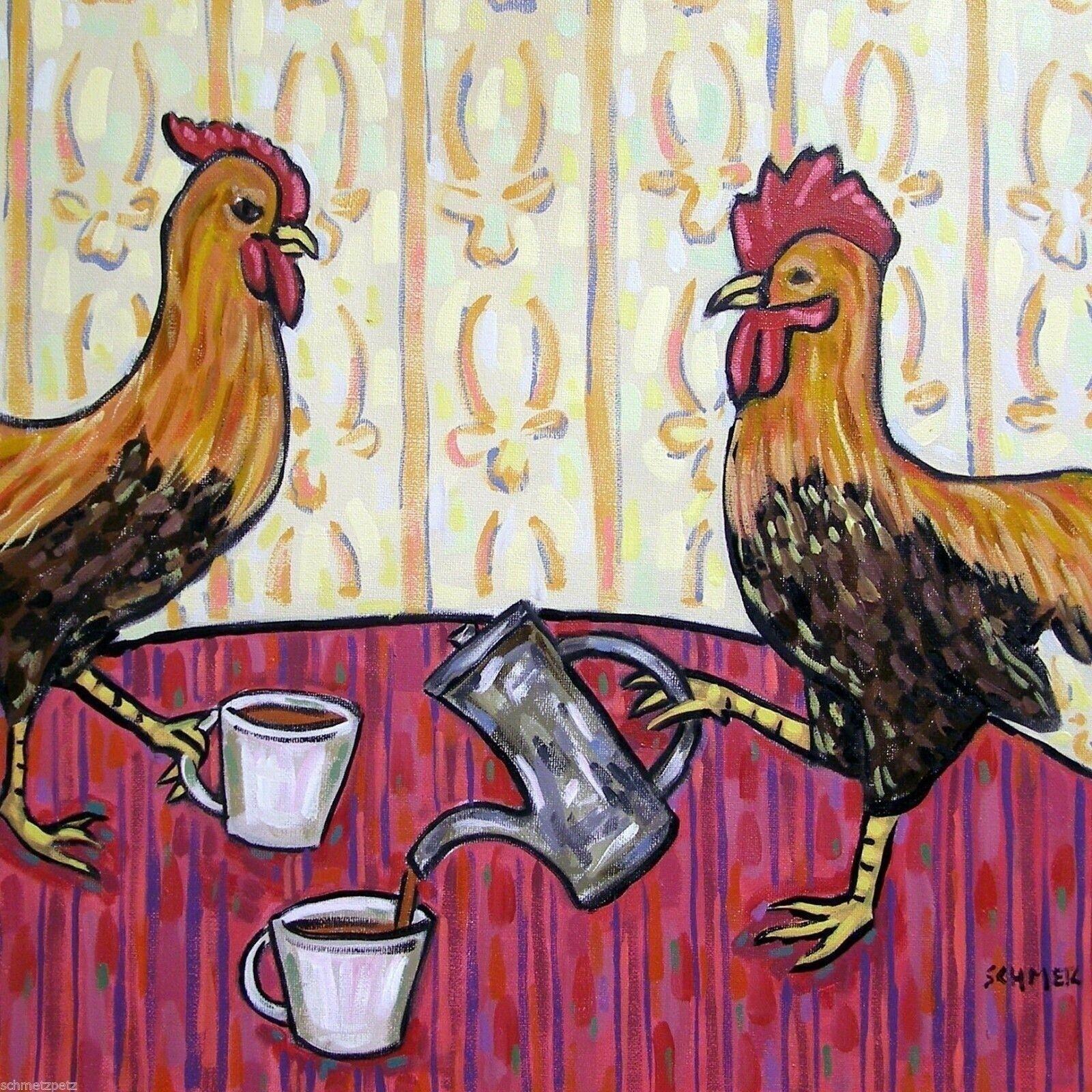CHICKEN rooster hen bathroom 11x14  art PRINT animals impressionism birds