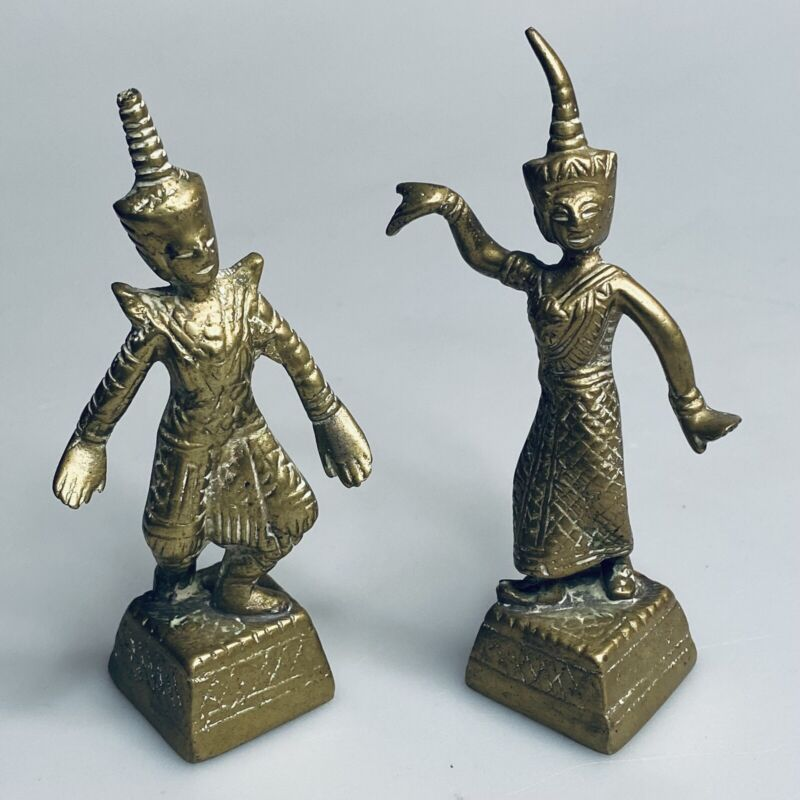 Pair Brass Thai - Siamese Temple Dancer Figurines 4 1/4 Inch Patina