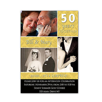 30 Invitations Gold Black 50th Wedding Anniversary Photo Card Invite Golden A2 Golden Wedding Anniversary Invitations