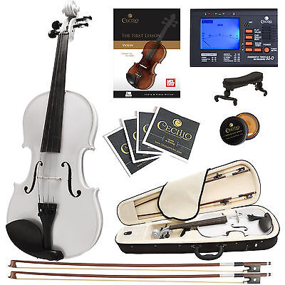 Cecilio 4/4 Ebony Fitted Solidwood Violin Metallic White +Tuner+Book/Audio/Video