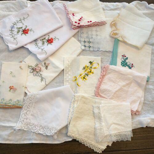 Vintage Ladies Hankies Lot of 13 Floral Cotton & Nylon