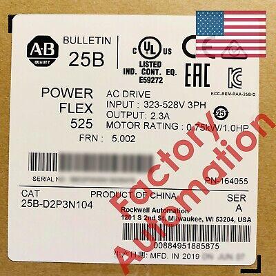 20182019 Us Stock Allen-bradley Powerflex 525 0.75kw 1hp Ac Drive 25b-d2p3n104
