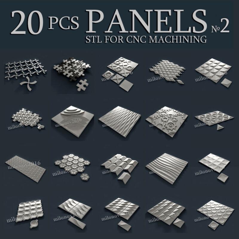 3d stl Model relief for CNC Router Artcam 20 pcs Pack №2