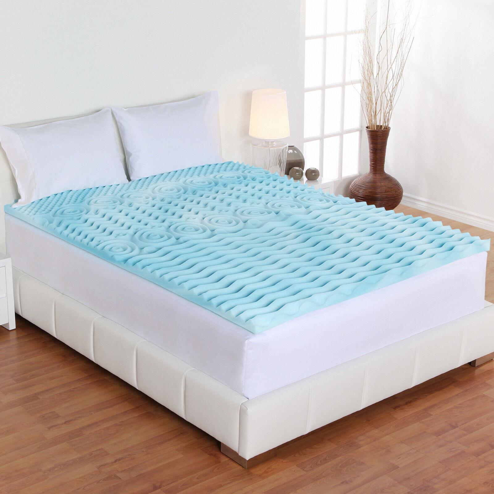 Cooling Gel Mattress Topper Memory Foam Orthopedic King Bed