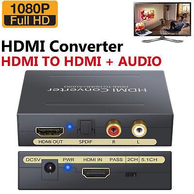 HD 1080P HDMI zu HDMI Optical +SPDIF +RCA L/R Extractor Converter Audio Splitter ()