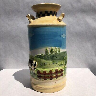 "Vintage Ceramic Milk Jug 12"" Tall Container Vase Contry Farm Embossed Cow"