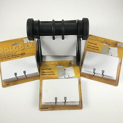 Rolodex Open Rotary Business Phone Index Card File Holder A-z 354 Blank Cards