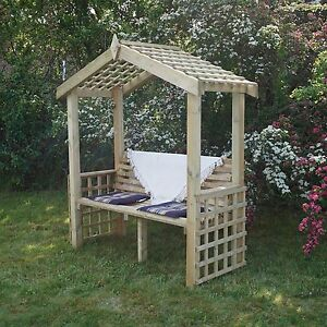 Heavy Duty Pressure Treated Garden Arch Arbour Seat Bench