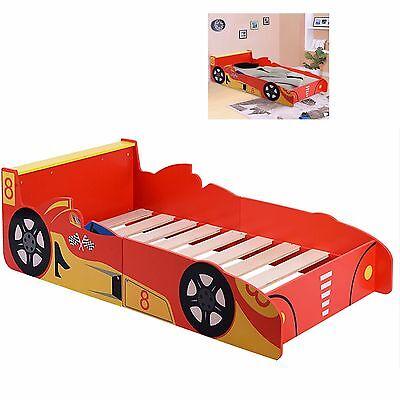 Kids Racing Car Bed Children Single Toddler Junior Wooden Bedroom Furniture Boys