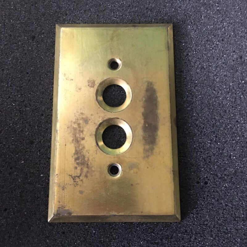 Antique BRASS Push Button Light Switch Plate COVER OLD