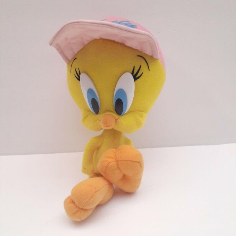 "Looney Tunes TWEETY BIRD Pink Hat Ball Cap 8"" Plush Stuffed Animal"