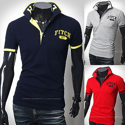 New Fashion Mens Stylish FITCH NY Polo Pique Collar Casual T-Shirts Top S/M/L