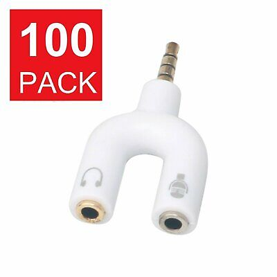 100 x 3.5mm AUX Audio Mic Splitter Cables Headphone Adapter 1 Male To 2 Female Audio Cables & Interconnects