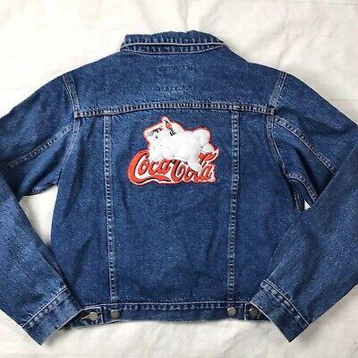 Coca Cola Denim Trucker Jacket Fuzzy Polar Bear Youth M NEW