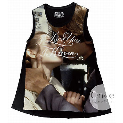 LADIES Official STAR WARS I Love You I Know Han Solo and Leia Vest Top T-Shirt