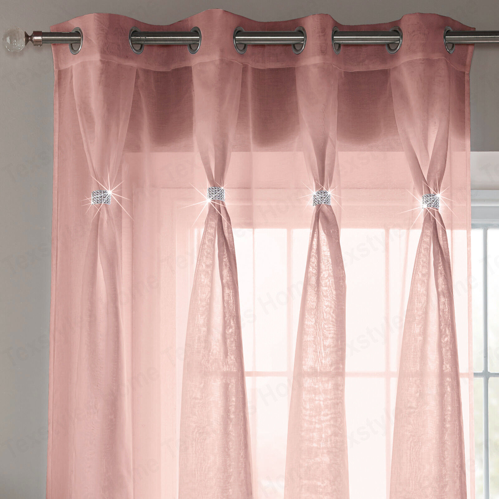 Blush Pink Diana Dolly Diamante Sheer Voile Curtain Eyelet