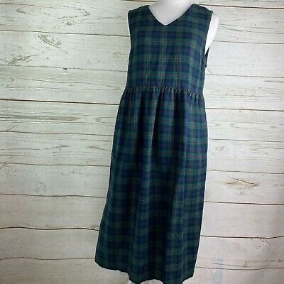 80s Dresses | Casual to Party Dresses Vintage 80s The Tog Shop Petites Green Plaid Dress PS Petite S Jumper Sleeveless $20.00 AT vintagedancer.com