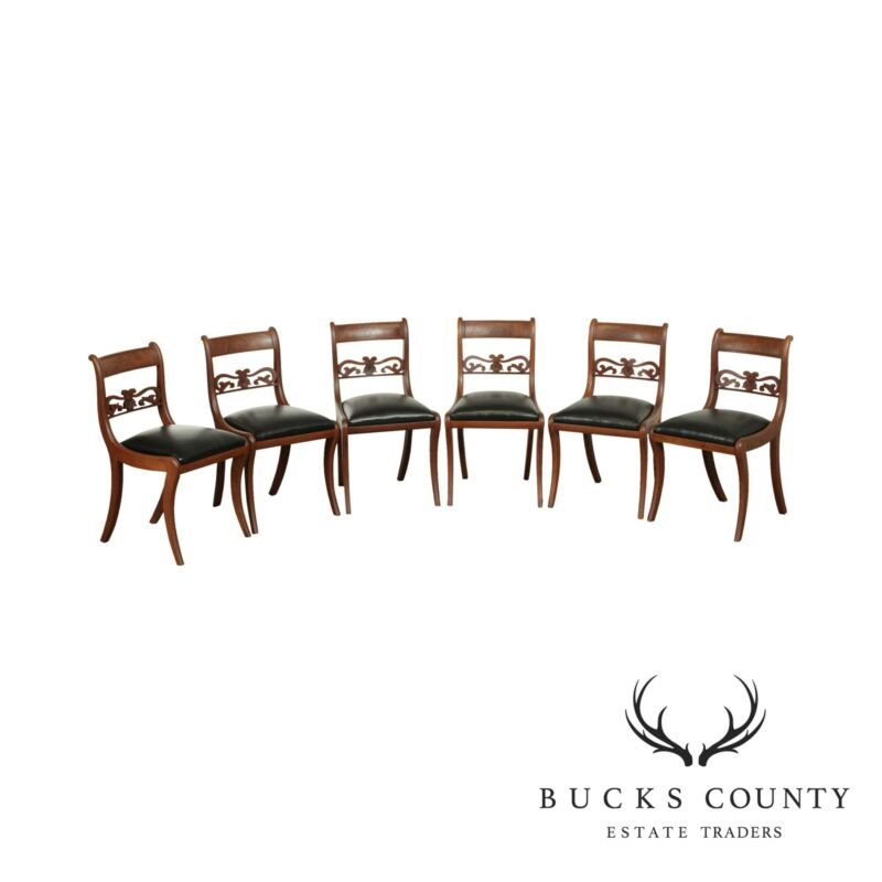 Antique American Regency Style Set 6 Mahogany Dining Chairs