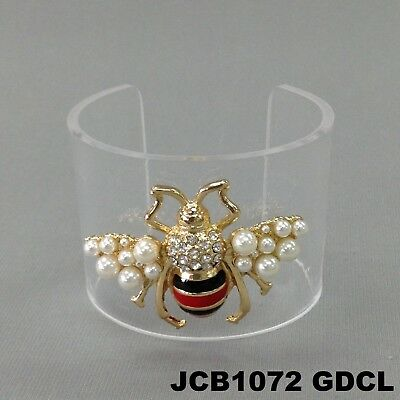 Designer Inspired Cuff Bracelet - Designer Inspired Bumble Bee Insect Pendant Cuff Open Clear Bracelet JCB1072GDCL