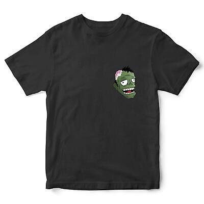 Simple Zombie Costumes (Zombie Head Funny Halloween T Shirt Scary Pocket Print Tee Simple Costume)