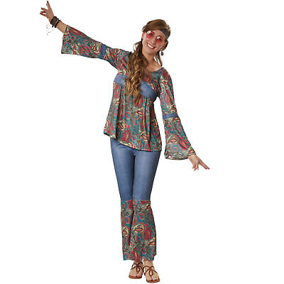 Kostüm Damen Hippie Boho Girl 60er 70er Flower Power Retro Fasching Karneval