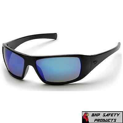 Pyramex Goliath Safety Glasses Black W Ice Blue Mirror Lens Sunglasses Sb5665d