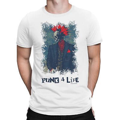 Mens T-Shirt PUNK 4 LIFE Band Guitar Drums Rock Punks Novelt