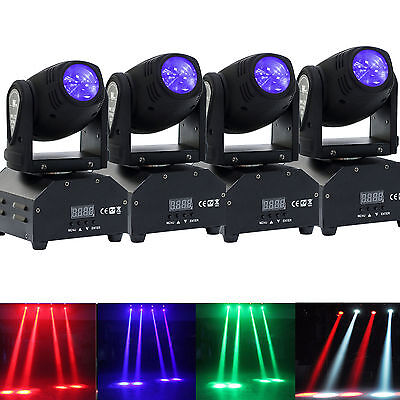 4PCS 60W LED Mini Moving Head Beam Lights DMX512 Stage Lighting Party DJ Light