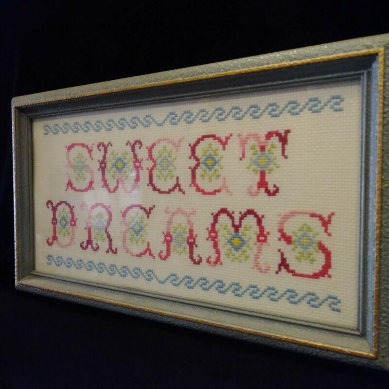 """Vintage Handstitched Framed Nursery Bedroom Decor """"Sweet Dreams"""" Wall Hanging"""