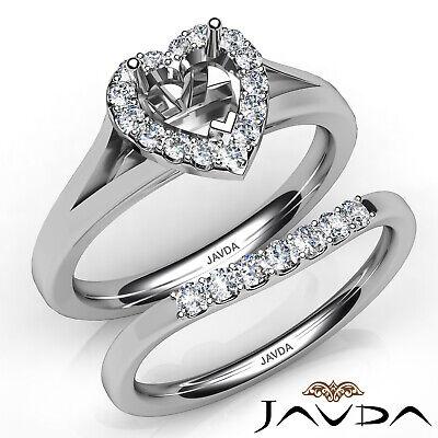 Heart Diamond U Prong Engagement Halo Semi Mount Wedding Bridal Set Ring 0.42Ct ()