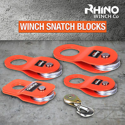 Rhino Winch Snatch Block Heavy Duty 4x4 Off Road Recovery Pulley 2 To 12ton